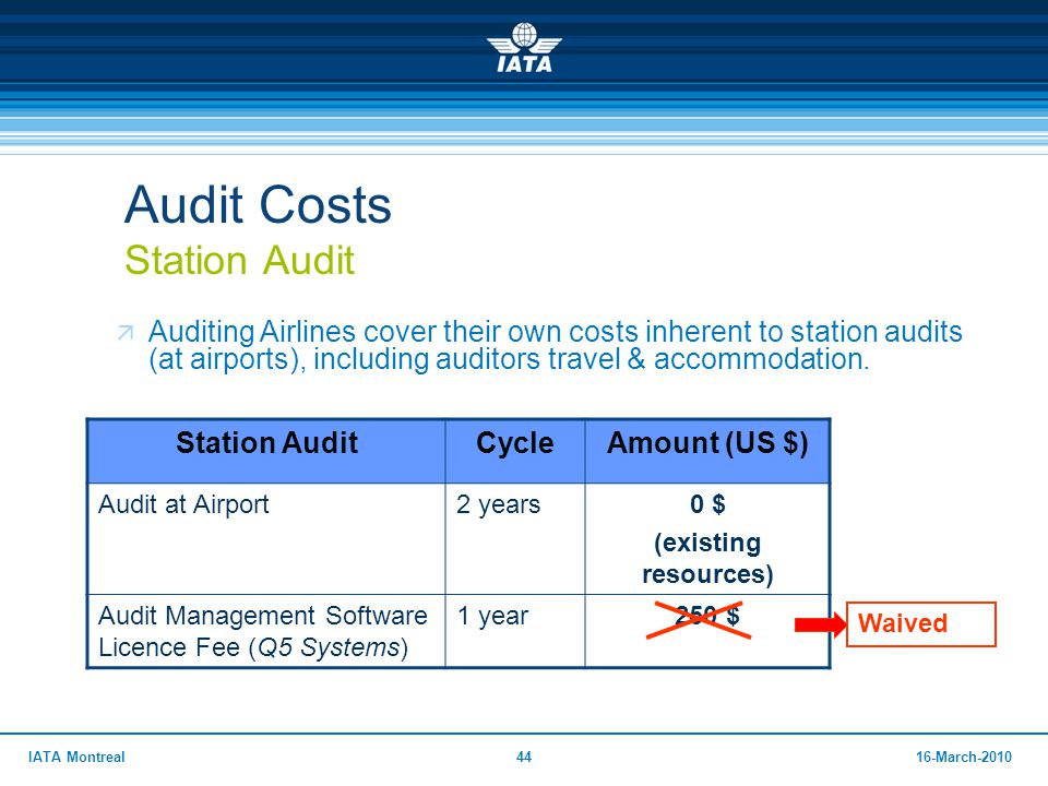 4416-March-2010IATA Montreal Audit Costs Station Audit  Auditing Airlines cover their own costs inherent to station audits (at airports), including a