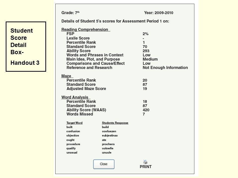Student Score Detail Box- Handout 3