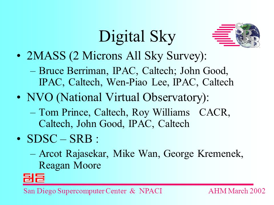 San Diego Supercomputer Center & NPACIAHM March 2002 Digital Sky 2MASS (2 Microns All Sky Survey): –Bruce Berriman, IPAC, Caltech; John Good, IPAC, Caltech, Wen-Piao Lee, IPAC, Caltech NVO (National Virtual Observatory): –Tom Prince, Caltech, Roy Williams CACR, Caltech, John Good, IPAC, Caltech SDSC – SRB : –Arcot Rajasekar, Mike Wan, George Kremenek, Reagan Moore