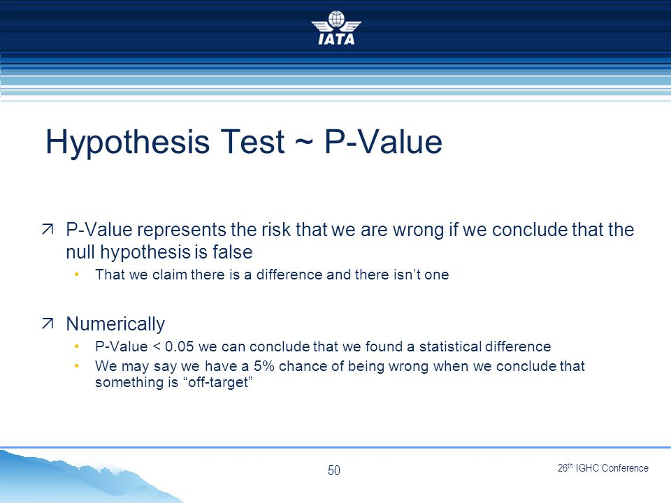 26 th IGHC Conference NO TYPE OR IMAGES CAN TOUCH THE SKY  P-Value represents the risk that we are wrong if we conclude that the null hypothesis is false That we claim there is a difference and there isn't one  Numerically P-Value < 0.05 we can conclude that we found a statistical difference We may say we have a 5% chance of being wrong when we conclude that something is off-target Hypothesis Test ~ P-Value 50