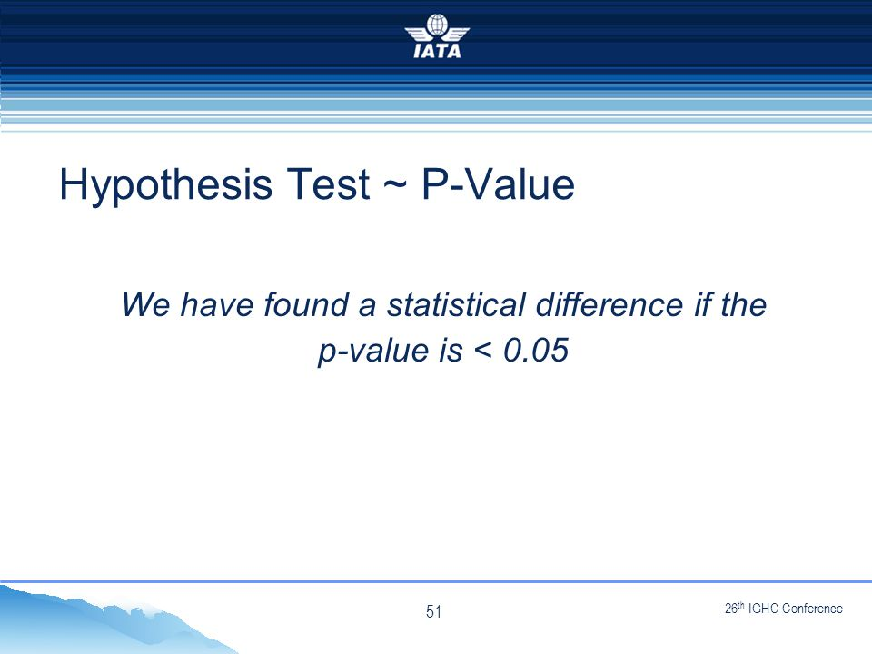 26 th IGHC Conference NO TYPE OR IMAGES CAN TOUCH THE SKY We have found a statistical difference if the p-value is < 0.05 Hypothesis Test ~ P-Value 51