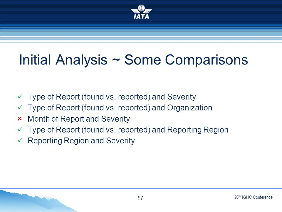 26 th IGHC Conference NO TYPE OR IMAGES CAN TOUCH THE SKY Type of Report (found vs.