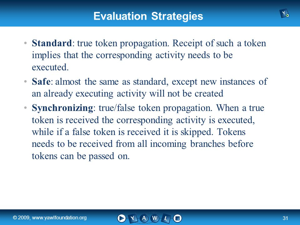 a university for the world real R 31 © 2009, www.yawlfoundation.org Evaluation Strategies Standard: true token propagation.