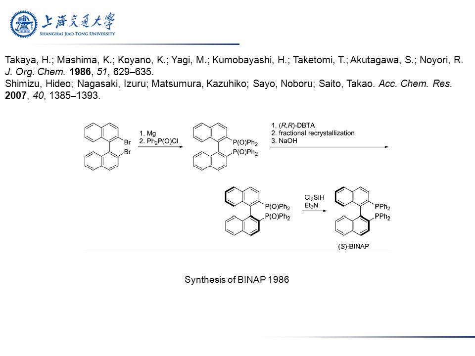 Synthesis of BINAP 1986 Takaya, H.; Mashima, K.; Koyano, K.; Yagi, M.; Kumobayashi, H.; Taketomi, T.; Akutagawa, S.; Noyori, R.