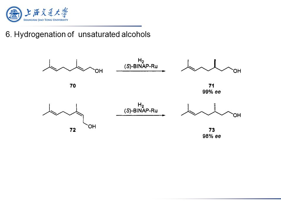 6. Hydrogenation of unsaturated alcohols