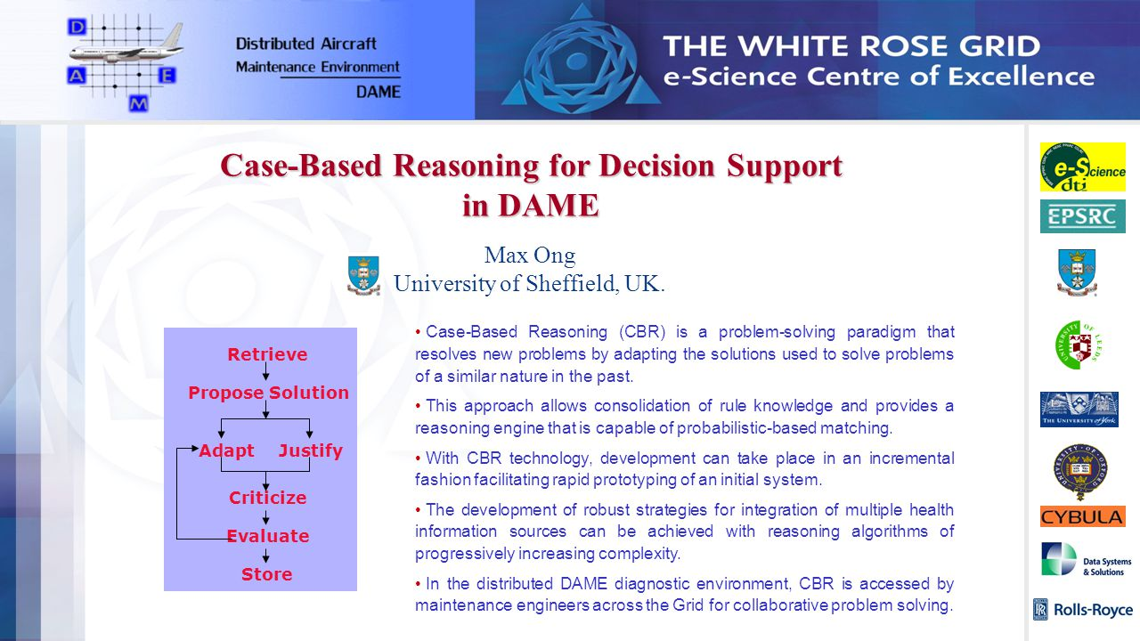 Max Ong University of Sheffield, UK. Case-Based Reasoning for Decision Support in DAME Case-Based Reasoning (CBR) is a problem-solving paradigm that r