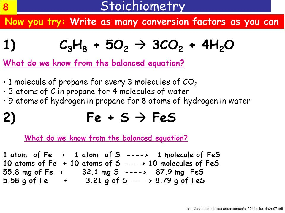 How can we write these as conversion factors? Stoichiometry CH 4 + 2O 2  CO 2 + 2H 2 O there is: one mole of CH 4 for every two moles of H 2 O there