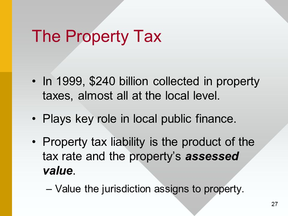 27 The Property Tax In 1999, $240 billion collected in property taxes, almost all at the local level. Plays key role in local public finance. Property