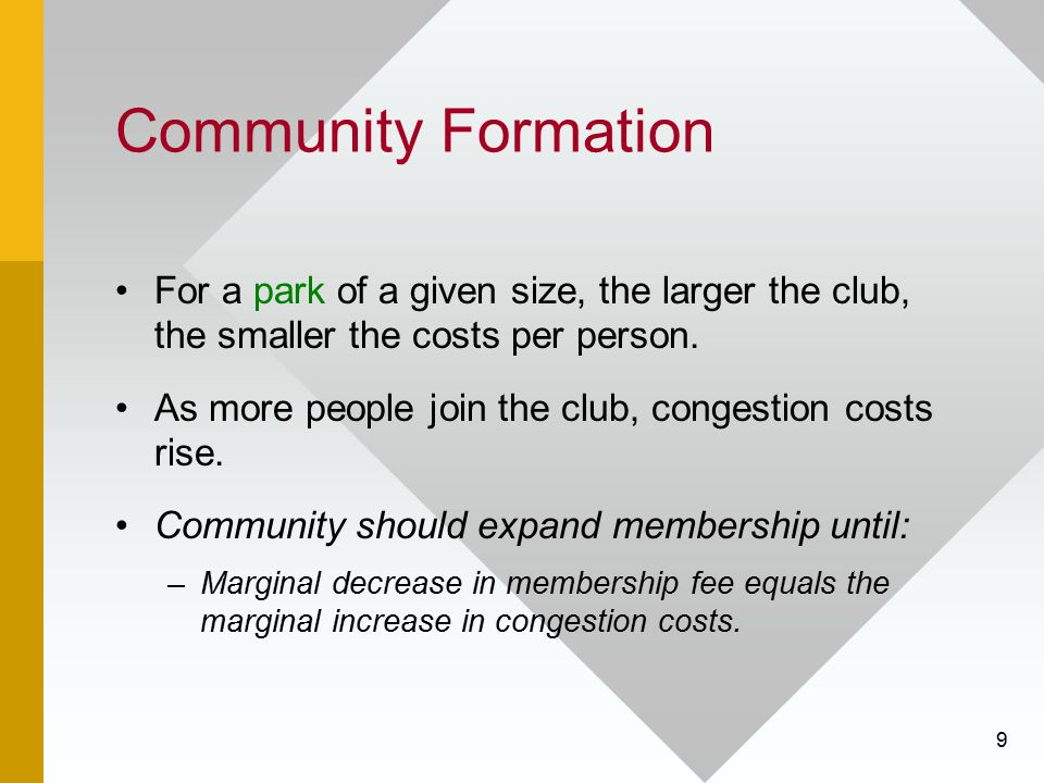 9 Community Formation For a park of a given size, the larger the club, the smaller the costs per person. As more people join the club, congestion cost