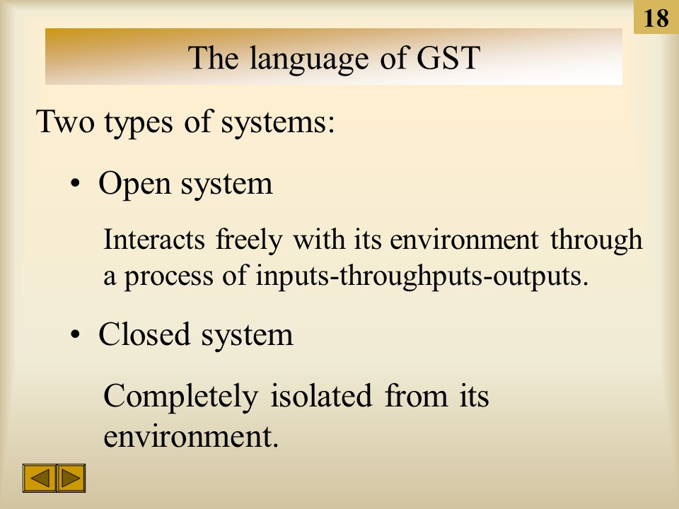 """17 The language of GST The definition of """"system"""" A set of related components bound together in patterned, interdependent relationships."""