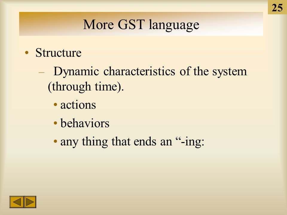 24 More GST language Structure – Static characteristics of the system (at a particular point in time).