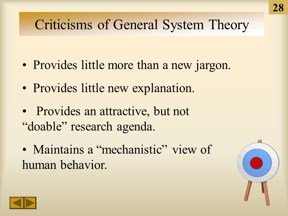 27 Contributions of General System Theory Focuses attention on the interdependence of components. Emphasizes the dynamic nature of many phenonomena. I