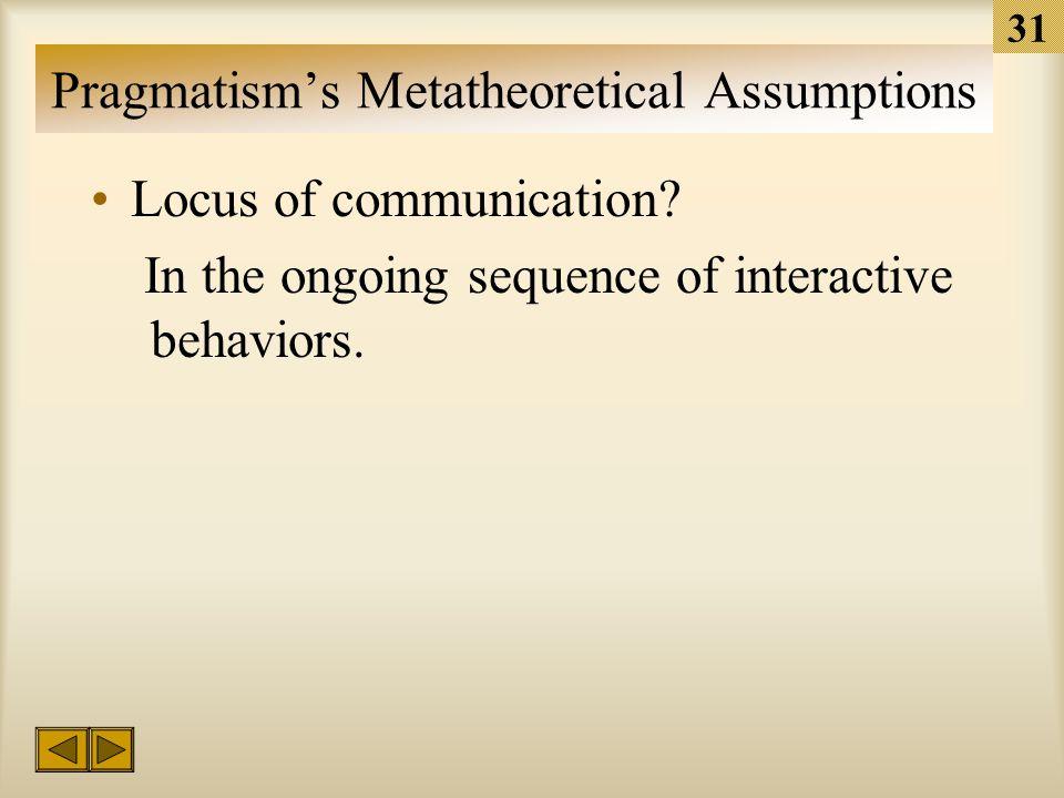 30 Pragmatism's Metatheoretical Assumptions Stochastic Probability –Pragmatism ignores causal or quasi-deterministic explanations.