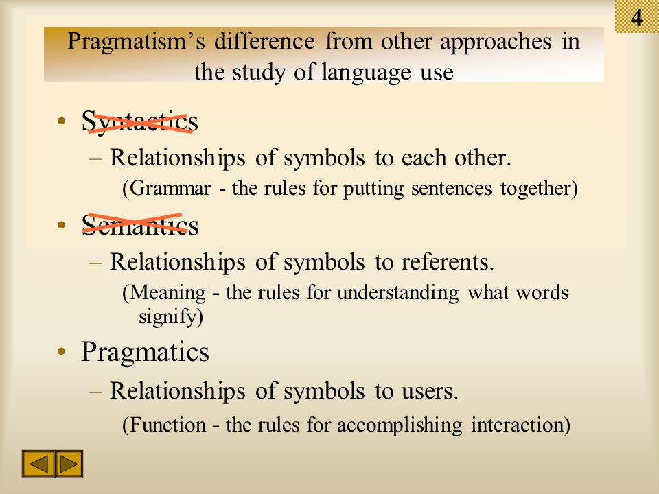 3 Pragmatism Fisher (1978) set this perspective's defining characteristic to be the behavior of the communicator as the fundamental component of human communication. What is meant by the term pragmatic.