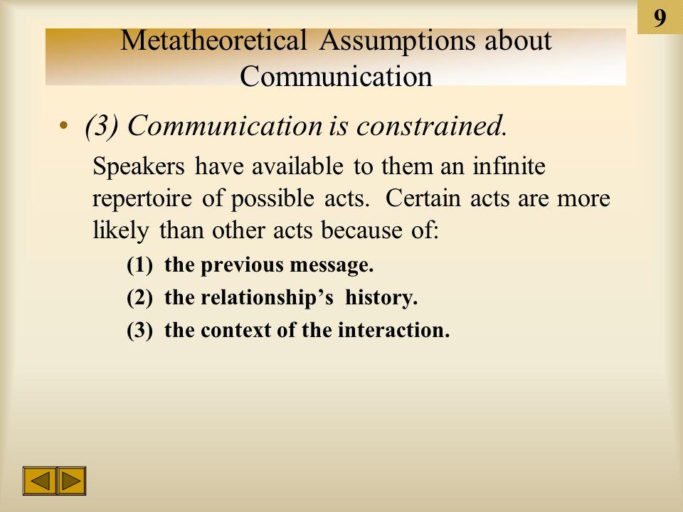 8 Metatheoretical Assumptions about Communication (1) One cannot not communicate.