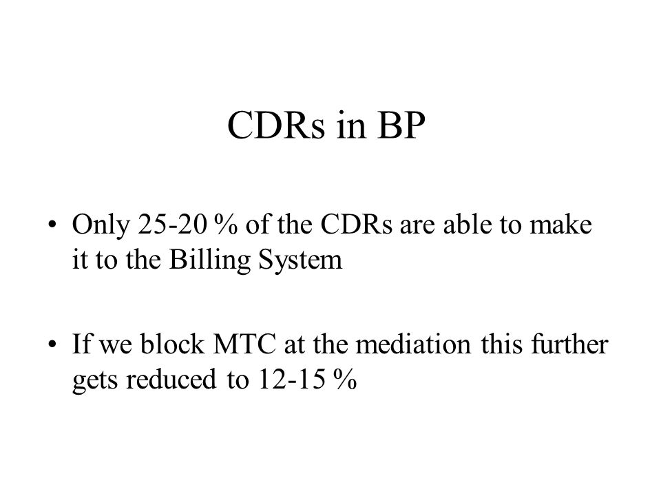 Analysis of CDRs Basic Call records - 55 % Supplementary CDRs- 12 % Auxillary CDRs- 33 %