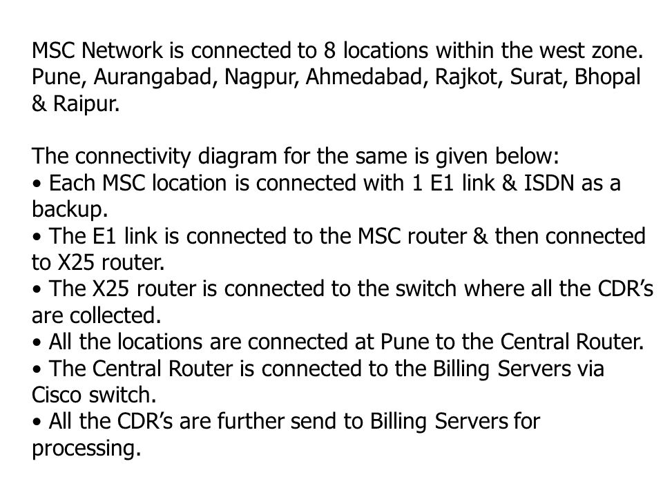 5505 S/W Central Router 7206 MSC Network diagram MSC Router X25 Router MSC Locations: Pune Aurangabad Nagpur Ahmedabad Rajkot Surat Bhopal Raipur Bill
