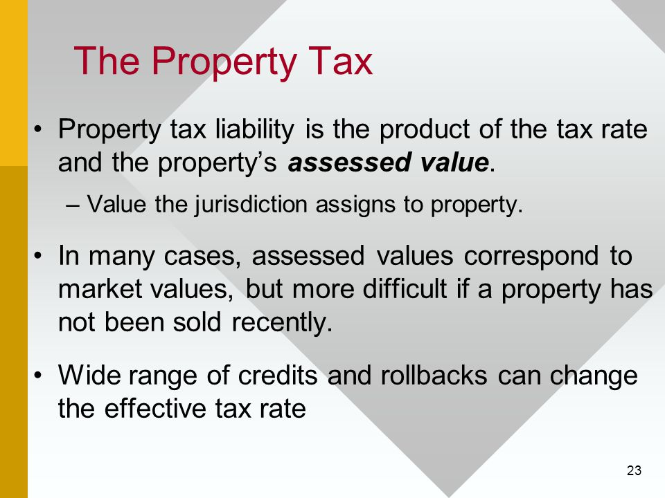 23 The Property Tax Property tax liability is the product of the tax rate and the property's assessed value.