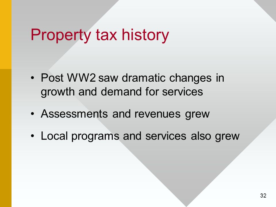 32 Property tax history Post WW2 saw dramatic changes in growth and demand for services Assessments and revenues grew Local programs and services also grew