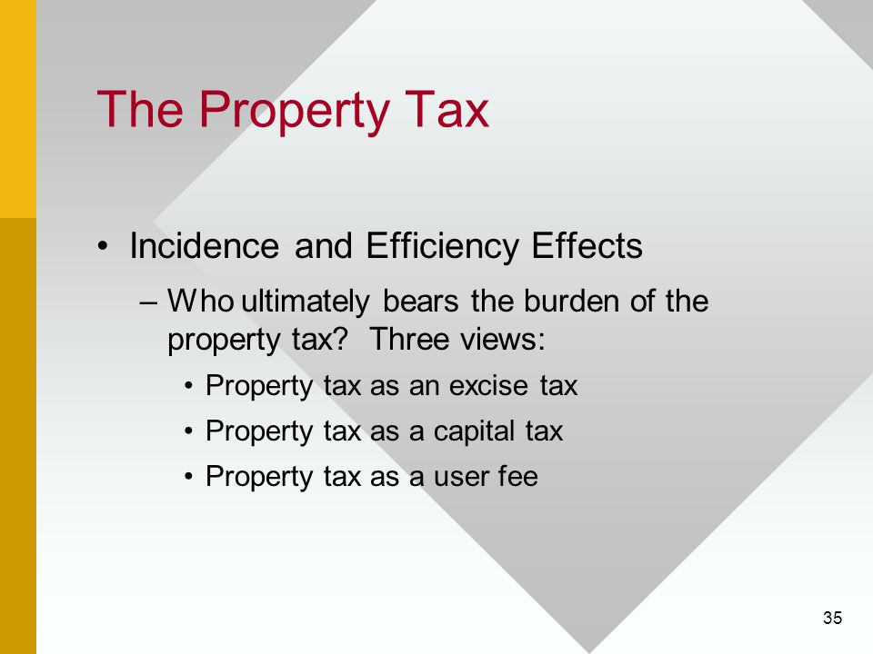 35 The Property Tax Incidence and Efficiency Effects –Who ultimately bears the burden of the property tax.