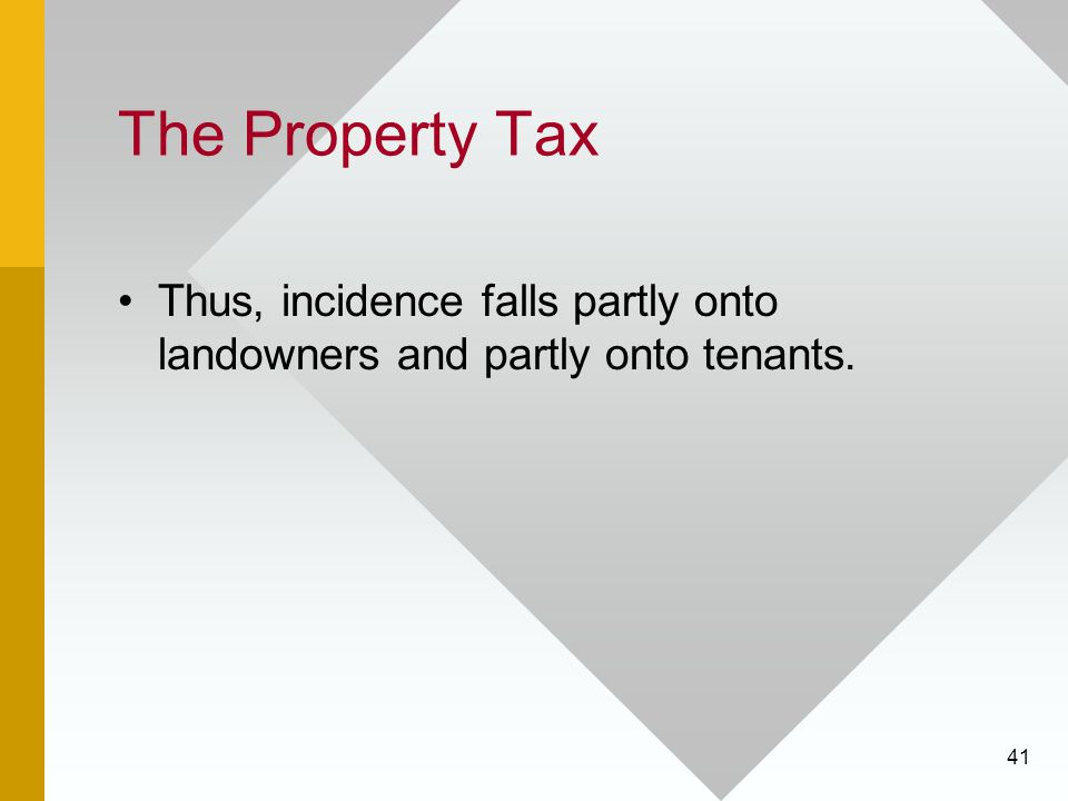 41 The Property Tax Thus, incidence falls partly onto landowners and partly onto tenants.