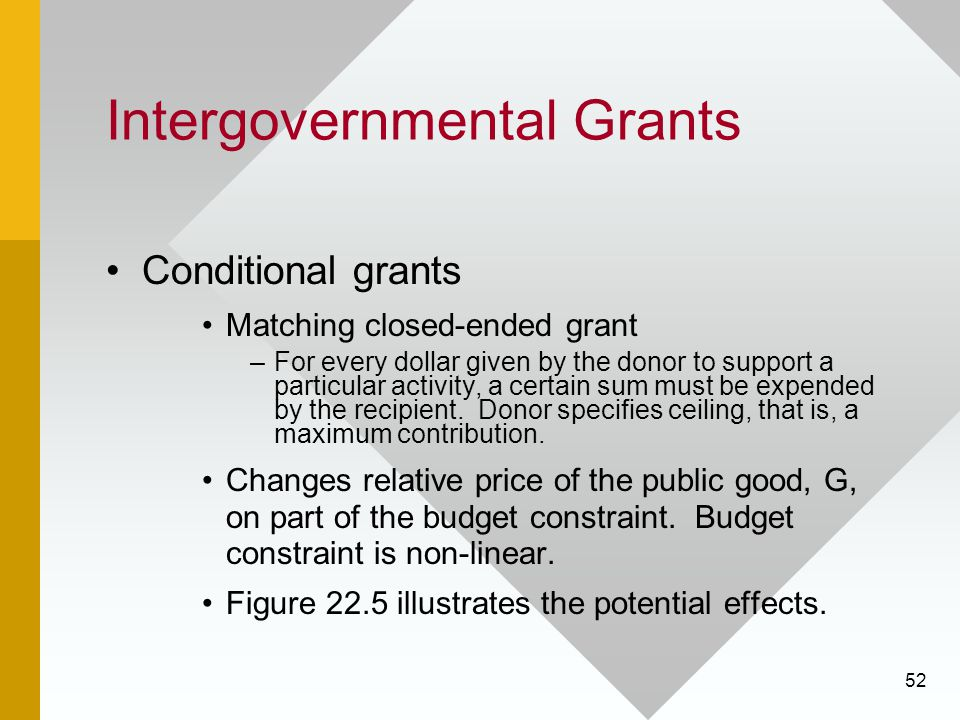 52 Intergovernmental Grants Conditional grants Matching closed-ended grant –For every dollar given by the donor to support a particular activity, a certain sum must be expended by the recipient.