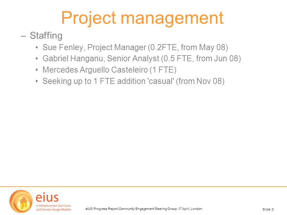 Slide: 3 eIUS Progress Report,Community Engagement Steering Group, 17 April, London. Project management –Staffing Sue Fenley, Project Manager (0.2FTE,