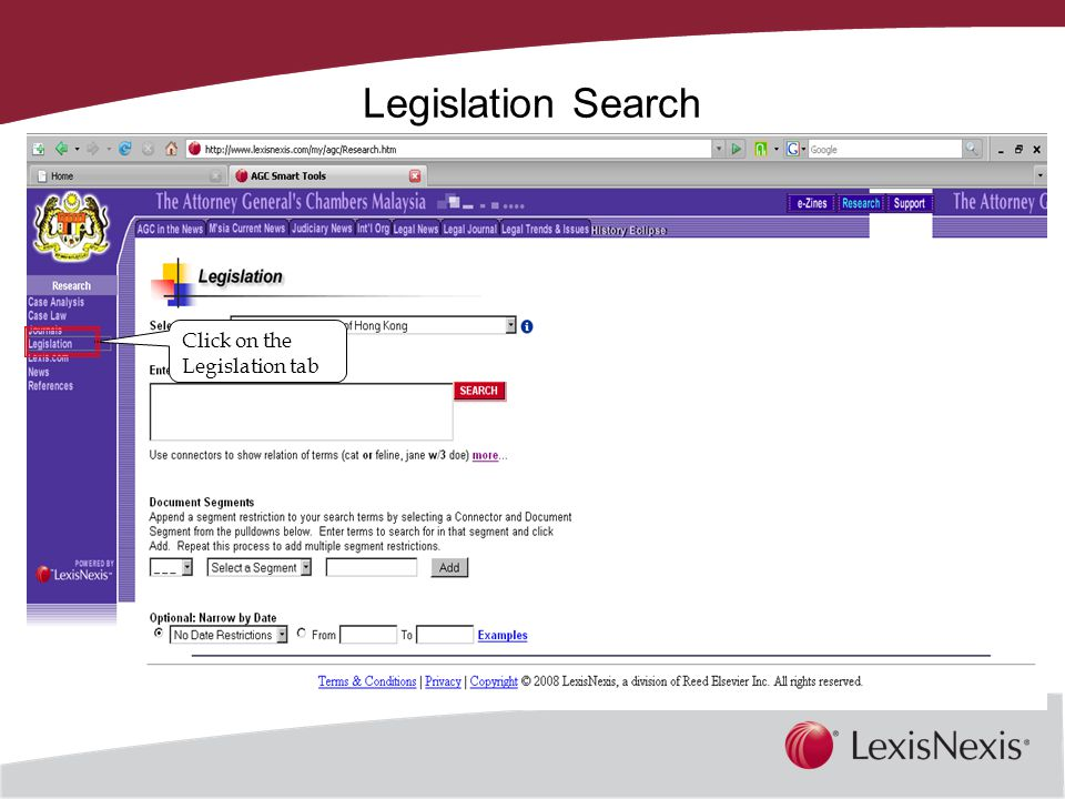 Together, We Can Legislation Search Click on the Legislation tab