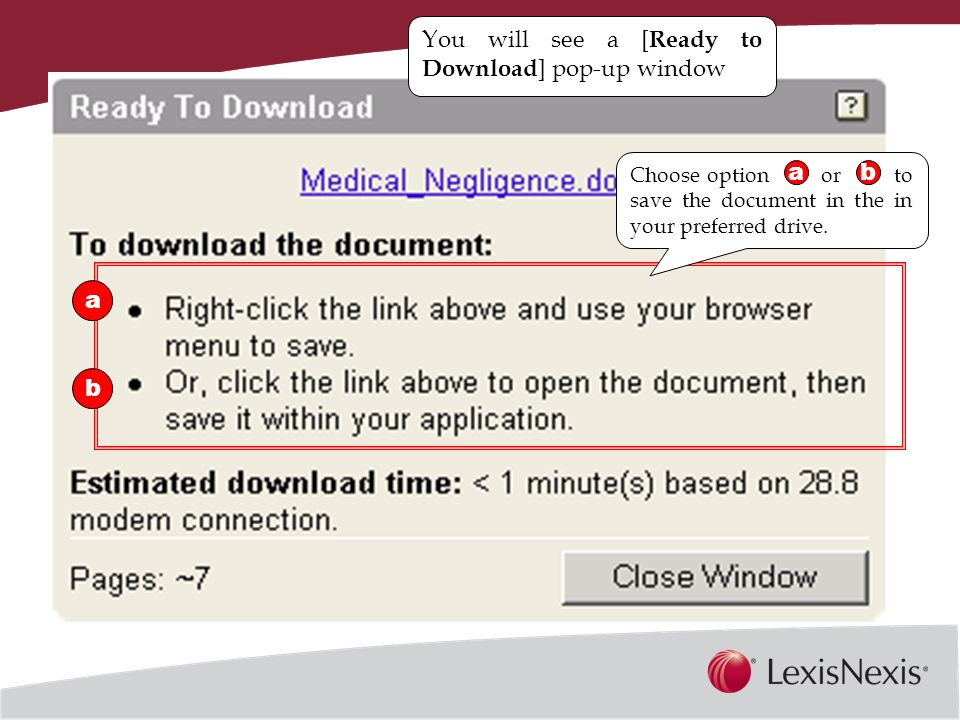Together, We Can You will see a [ Ready to Download ] pop-up window a b Choose option or to save the document in the in your preferred drive.