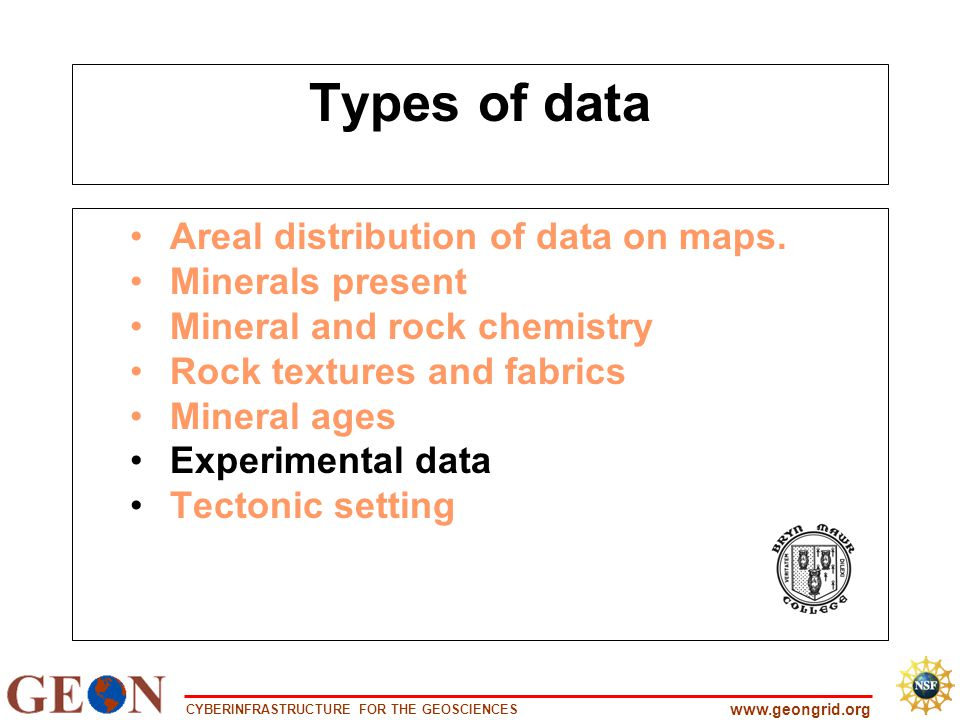 CYBERINFRASTRUCTURE FOR THE GEOSCIENCES www.geongrid.org Types of data Areal distribution of data on maps. Minerals present Mineral and rock chemistry