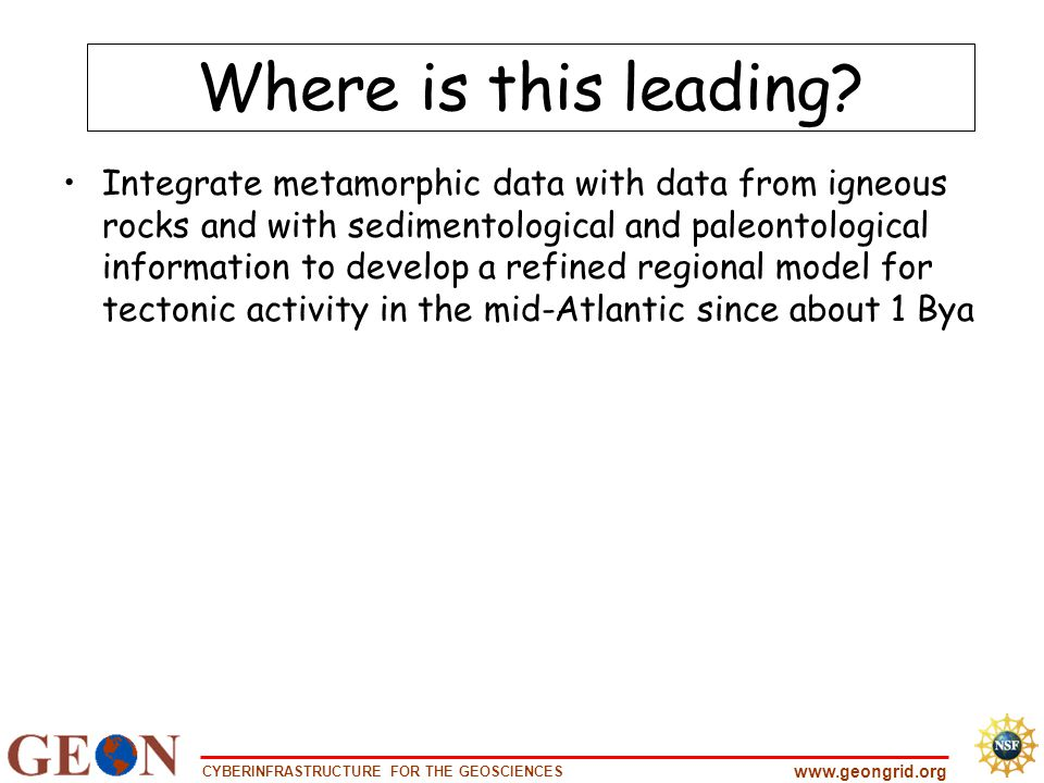 CYBERINFRASTRUCTURE FOR THE GEOSCIENCES www.geongrid.org Where is this leading.