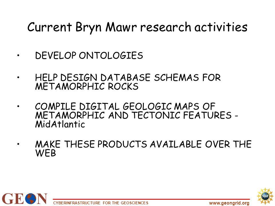 CYBERINFRASTRUCTURE FOR THE GEOSCIENCES www.geongrid.org Current Bryn Mawr research activities DEVELOP ONTOLOGIES HELP DESIGN DATABASE SCHEMAS FOR MET