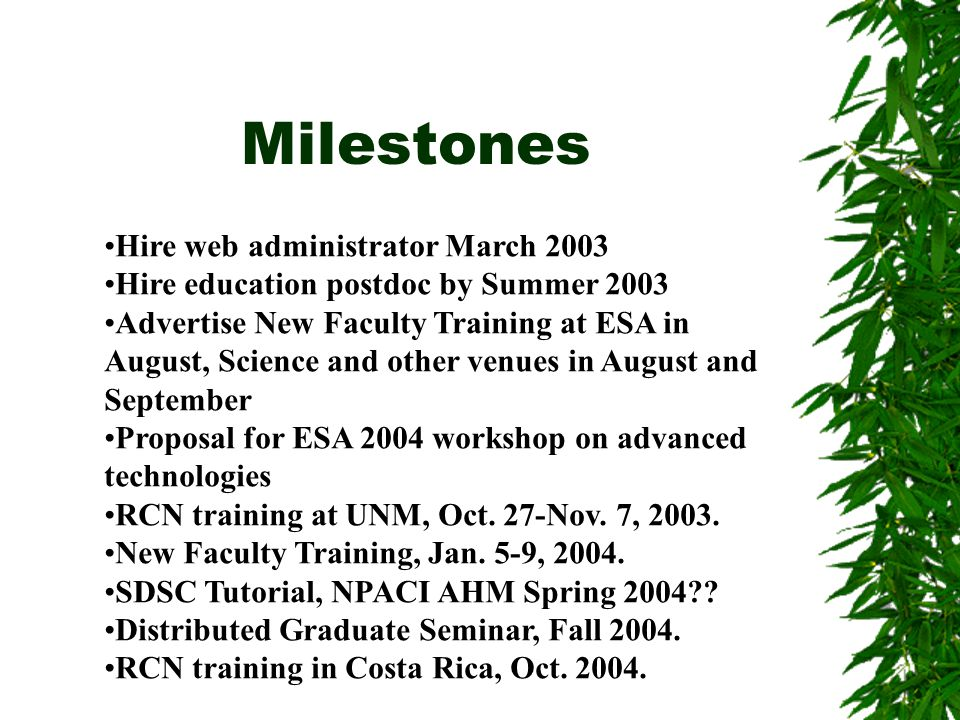 Milestones Hire web administrator March 2003 Hire education postdoc by Summer 2003 Advertise New Faculty Training at ESA in August, Science and other venues in August and September Proposal for ESA 2004 workshop on advanced technologies RCN training at UNM, Oct.