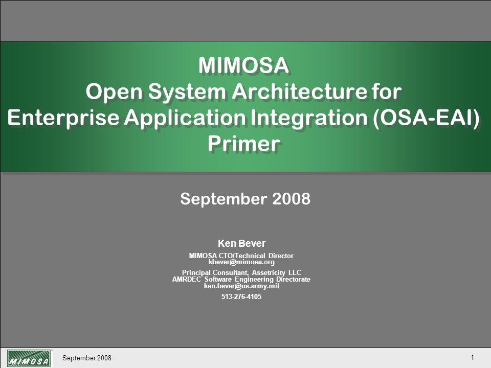 September 2008 132 OSA-EAI Open Maintenance Management Copyright 2007 MIMOSA