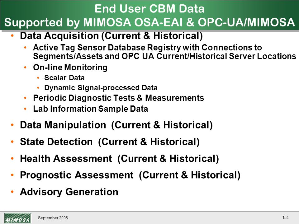 September 2008 154 End User CBM Data Supported by MIMOSA OSA-EAI & OPC-UA/MIMOSA Data Acquisition (Current & Historical) Active Tag Sensor Database Re