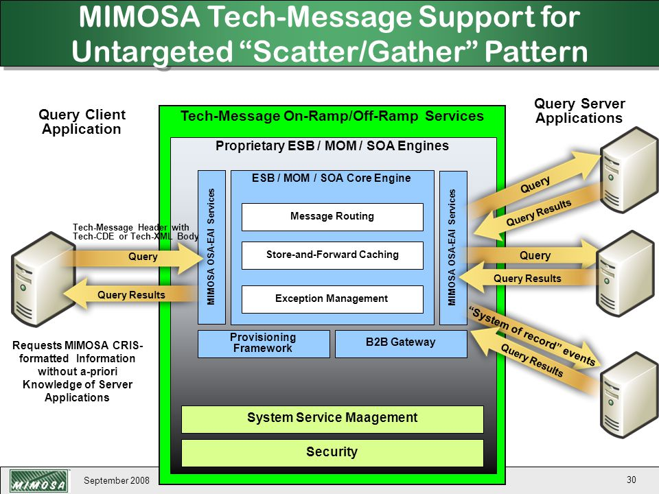 September 2008 30 Tech-Message On-Ramp/Off-Ramp Services Proprietary ESB / MOM / SOA Engines System Service Maagement Security ESB / MOM / SOA Core En