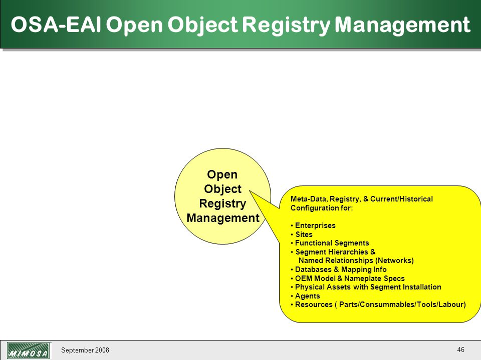 September 2008 46 Open Object Registry Management OSA-EAI Open Object Registry Management Meta-Data, Registry, & Current/Historical Configuration for: