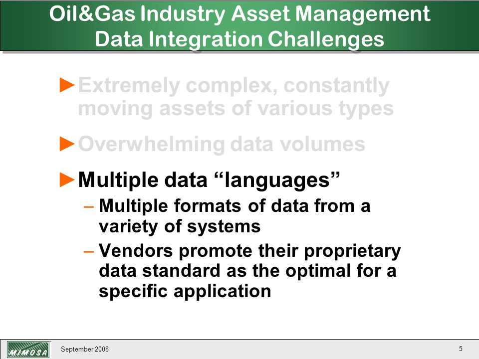 September 2008 136 ►Provides a consistent information architecture for physical asset capability forecasting based on projected future operating profiles, quality constraints, and time constraints managing all physical asset capability forecasting information in an open, distributed, multi-vendor, multi-system environment.