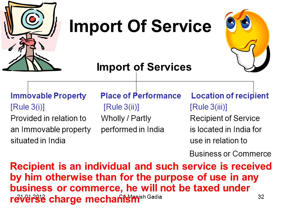 21.01.2012CA Manish Gadia32 Import Of Service Import of Services Immovable Property Place of Performance Location of recipient [Rule 3(i)] [Rule 3(ii)] [Rule 3(iii)] Provided in relation to Wholly / Partly Recipient of Service an Immovable property performed in India is located in India for situated in India use in relation to Business or Commerce Recipient is an individual and such service is received by him otherwise than for the purpose of use in any business or commerce, he will not be taxed under reverse charge mechanism