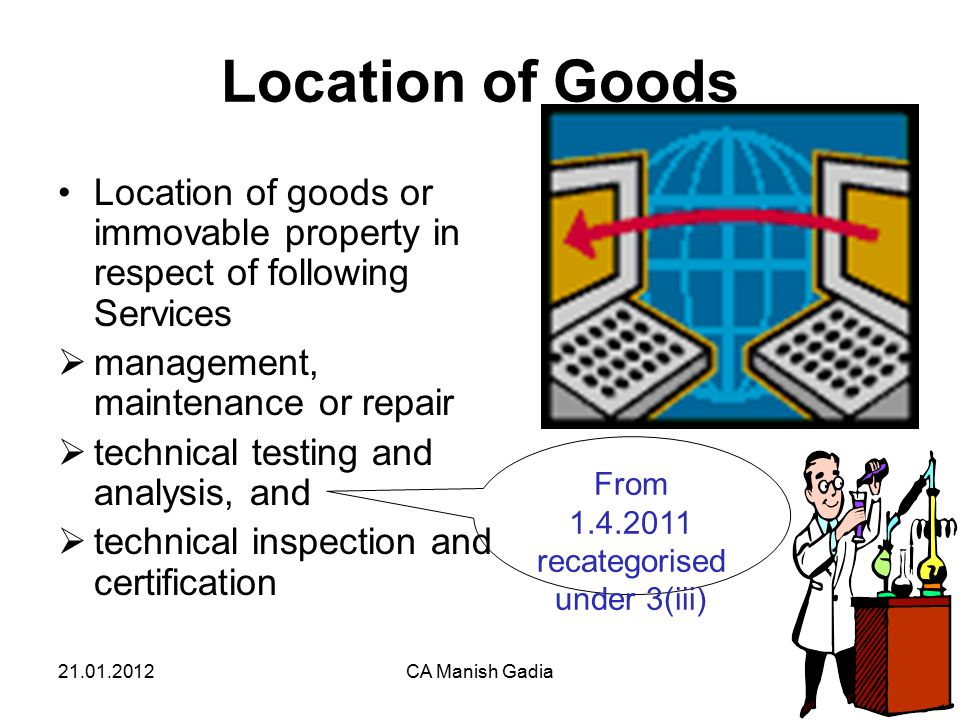 21.01.2012CA Manish Gadia33 Location of Goods Location of goods or immovable property in respect of following Services  management, maintenance or repair  technical testing and analysis, and  technical inspection and certification From 1.4.2011 recategorised under 3(iii)