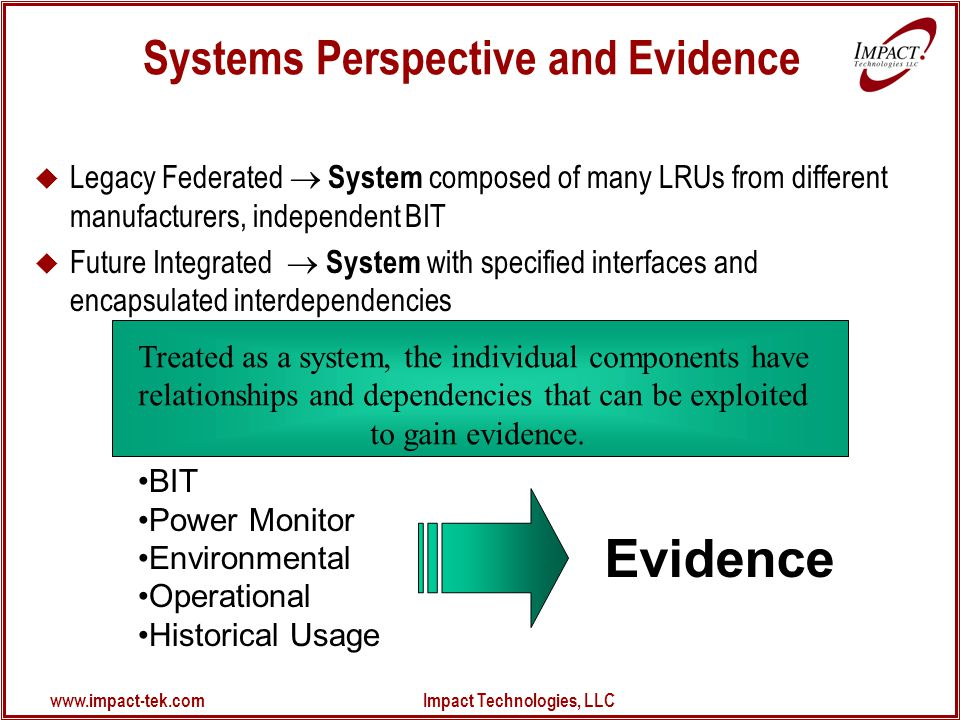 www.impact-tek.com Impact Technologies, LLC Treated as a system, the individual components have relationships and dependencies that can be exploited to gain evidence.