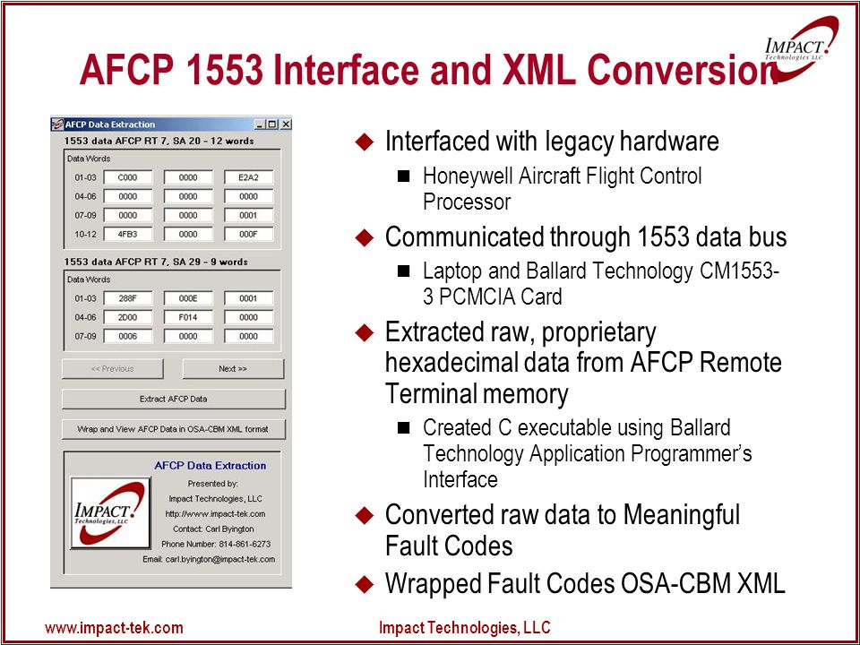 www.impact-tek.com Impact Technologies, LLC AFCP 1553 Interface and XML Conversion  Interfaced with legacy hardware Honeywell Aircraft Flight Control Processor  Communicated through 1553 data bus Laptop and Ballard Technology CM1553- 3 PCMCIA Card  Extracted raw, proprietary hexadecimal data from AFCP Remote Terminal memory Created C executable using Ballard Technology Application Programmer's Interface  Converted raw data to Meaningful Fault Codes  Wrapped Fault Codes OSA-CBM XML