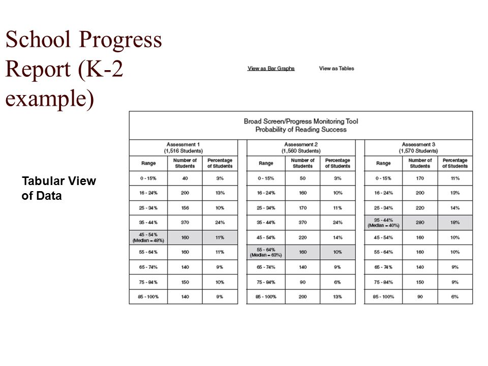 School Progress Report (K-2 example) Tabular View of Data