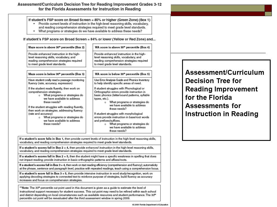 Assessment/Curriculum Decision Tree for Reading Improvement for the Florida Assessments for Instruction in Reading