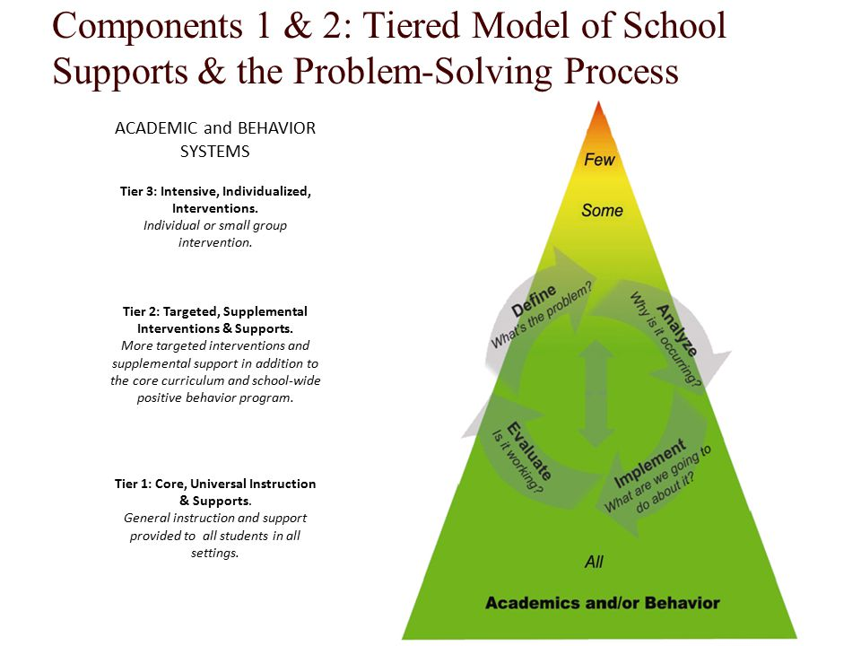 Components 1 & 2: Tiered Model of School Supports & the Problem-Solving Process ACADEMIC and BEHAVIOR SYSTEMS Tier 3: Intensive, Individualized, Interventions.