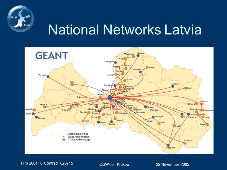 FP6-2004 I-6 Contract 026715 22 November, 2005CGW 05 Kraków National Networks Latvia