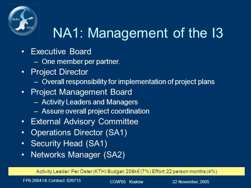 FP6-2004 I-6 Contract 026715 22 November, 2005CGW 05 Kraków NA1: Management of the I3 Executive Board –One member per partner.