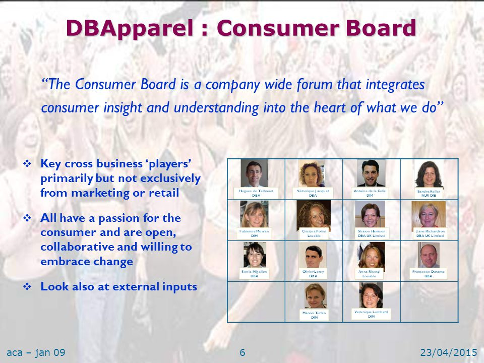 aca – jan 0923/04/20157 DBApparel : Consumer Board Its role:  Develop a learning culture by providing a forum for sharing commercial successes and failures through the company  Drive deeper insights and intelligence across the Brands and optimise total company spending  Develop new ways to raise consumer observation and listening skills  Benchmark our consumer research process and keep us up-to-date with new methodologies and segmentations