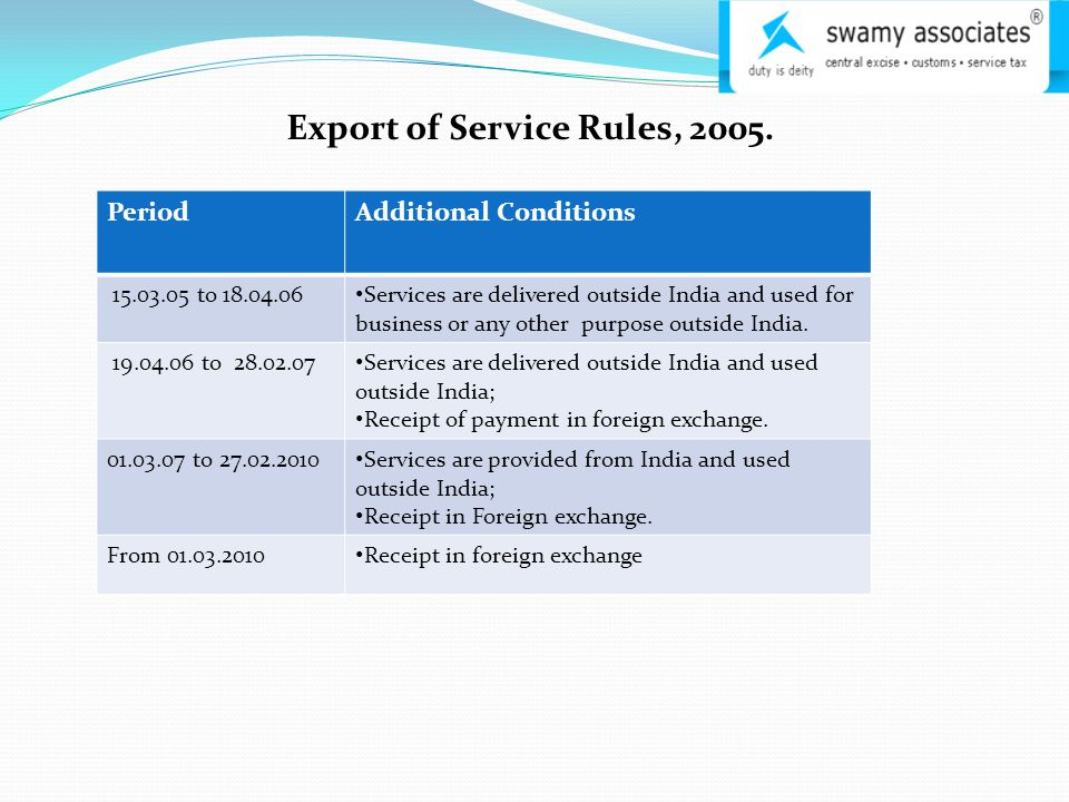 Export of Service Rules, 2005.