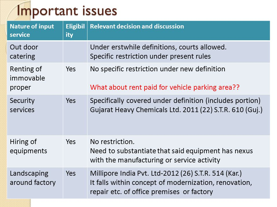 Important issues Nature of input service Eligibil ity Relevant decision and discussion Out door catering Under erstwhile definitions, courts allowed.
